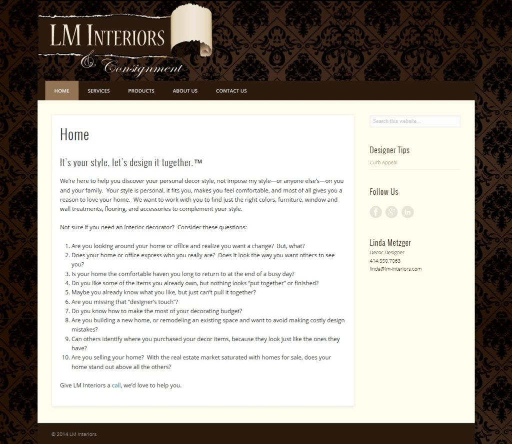 LM Interiors website