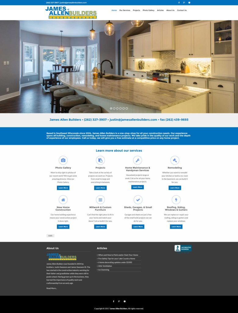 James Allen Builders Website | EVH Marketing