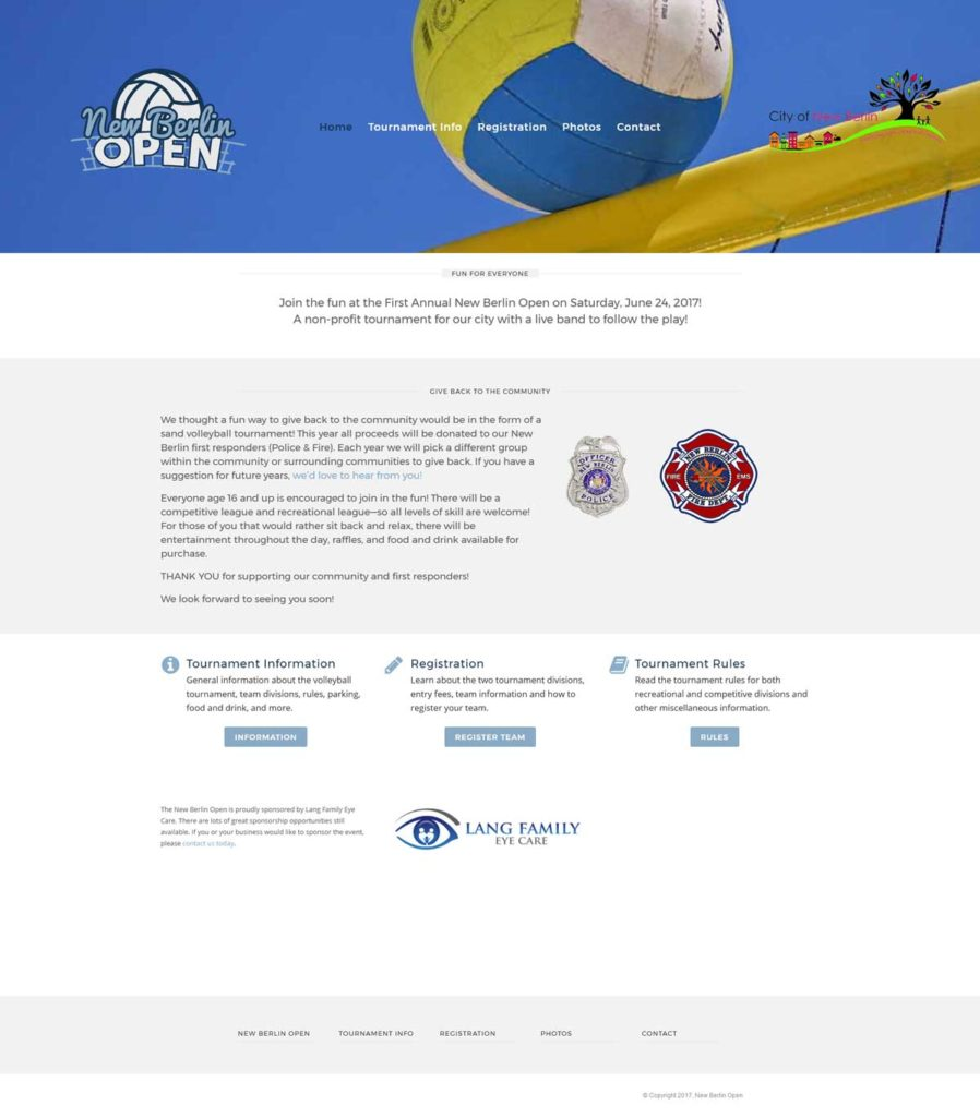 Website Design & Development | New Berlin Open | EVH Marketing