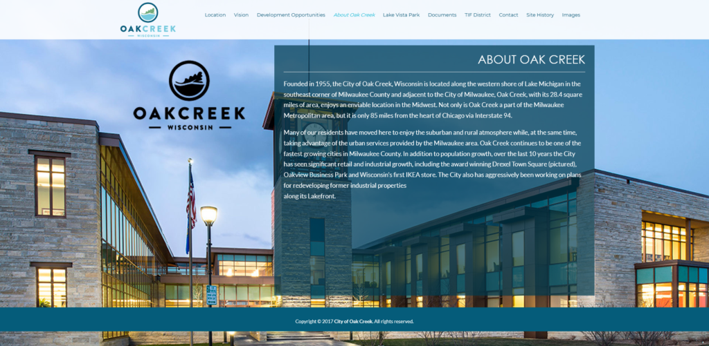 Oak Creek WI Development PRoject Website | EVH Marketing