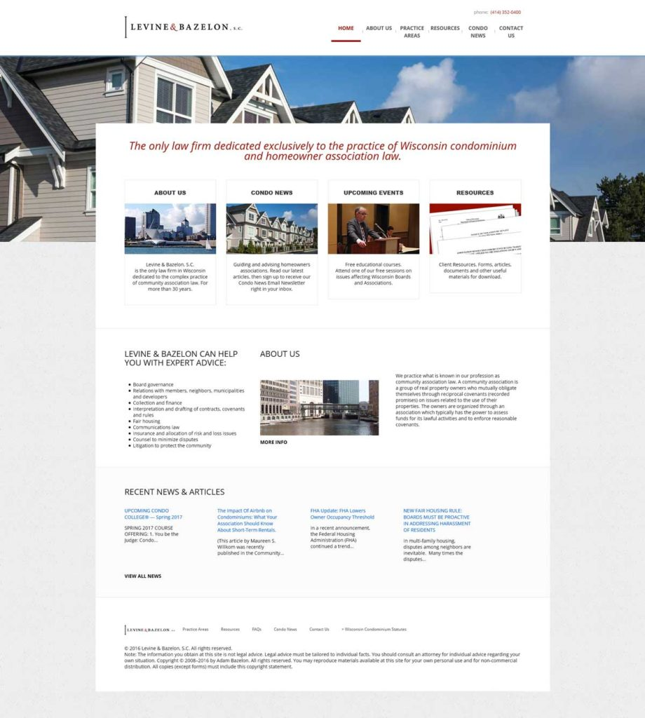 Website Design & Development | Wisconsin Condo Law | EVH Marketing